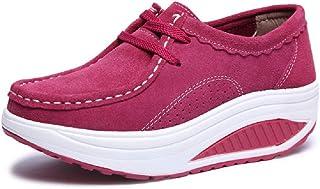 LingGT Rocker Sole Shoes for Women Leather Platform Breathable Trainers (Color : Red, Size : AU 6.5)