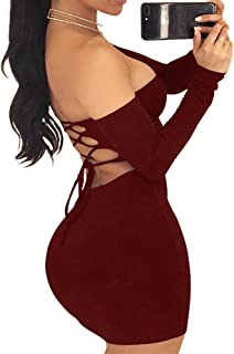 TOB Women's Sexy Off Shoulder Backless Lace Up Club Bodycon Mini Dress