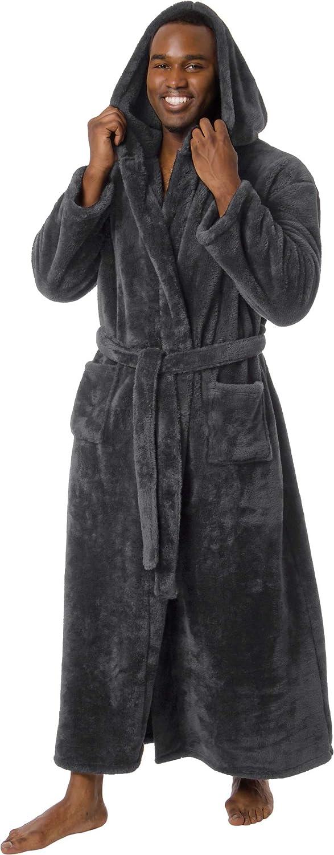 Ross Michaels Mens Robe Big & Tall with Hood - Long Plush 400GSM Luxury Bathrobe at  Men's Clothing store