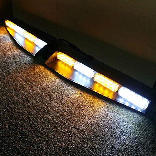 VSLED 2-16 LED 96 Watt Car Truck Emergency Beacon Light Bar Exclusive Split Visor Deck Dash Strobe Warning LightBar Amber/White/Amber/White LightBar