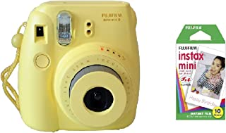 Fujifilm instax Mini 8 Instant Polariod Film Camera - Yellow + Mini Instax Polaroid Film 10 sheets - Bundle Kit
