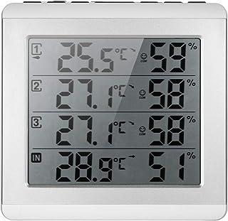 ROEAM LCDデジタルワイヤレス屋内/屋外温度計湿度計 ウェザーステーション 温湿度計 ワイヤレス センサー LCD ディスプレイ 天気予報 デジタル 目覚まし 時計 4チャンネル天気予報ステーション ℃/℉温度湿度計 CJ5528RF-A4