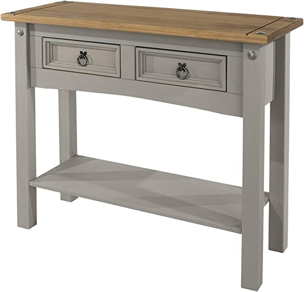 Wood Hall Table Console 2 Drawers Corona Gray