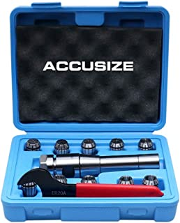 Accusize Industrial Tools 10 Pcs Er20 Collet R8 Bridgeport Shank Plus 1 Wrench in Fitted Case, 0223-0954