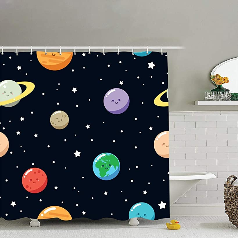 zhufeifan Cute Planets Seamless Pattern Cartoon Backgrounds Textures Astrology Science Fabric Bathroom Decor Set with Hooks, 72 x 72 Inches