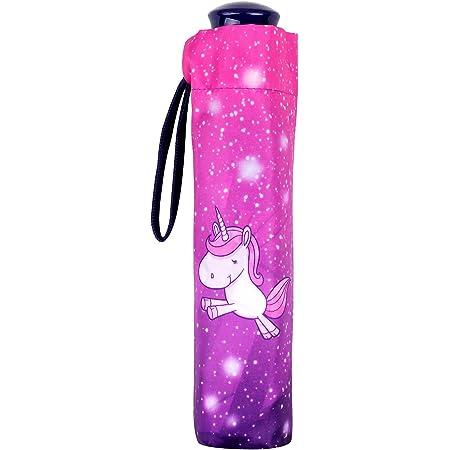 POS Handels GmbH Taschenschirm mit Einhorn Motiv, Regenschirm für Mädchen, manueller Öffnung, windfest Parapluie canne, 24 cm, Multicolore (Bunt)