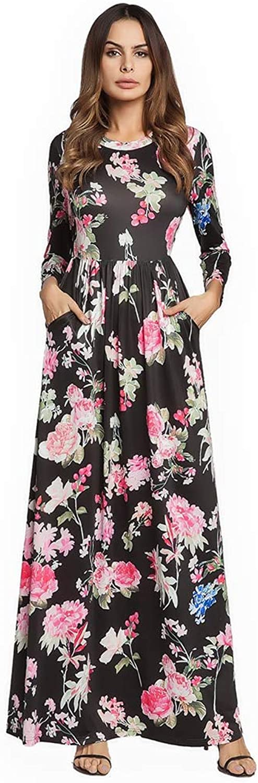 FUZHUANGHM Sexy Bohemian Floral Print Maxi Dress Women Sundress Round Neck Beach Ruffle Ladies Long Dress