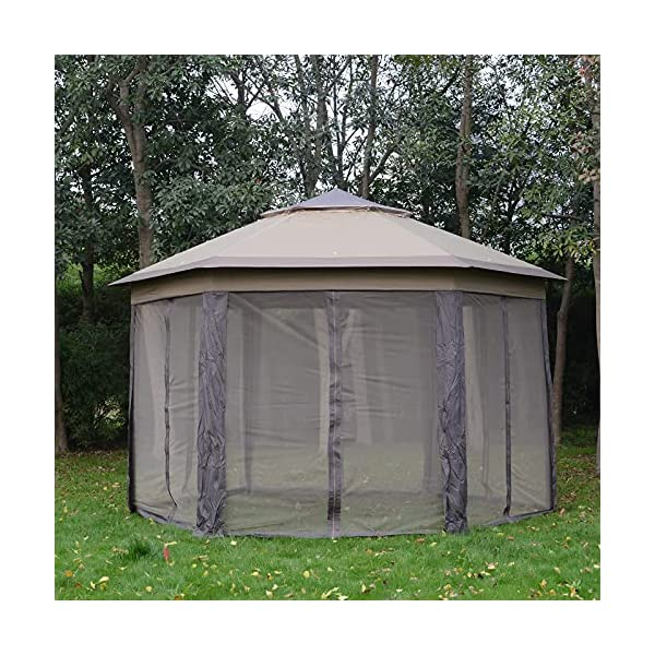 Outsunny Hexagon Patio Gazebo Pop Up Gazebo Outdoor Double Roof Instant Shelter with Netting 4.05mx4.05m