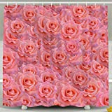 DGFhk Red-Orange Flower Bathroom Curtains Shower Rings Included 60'x72'