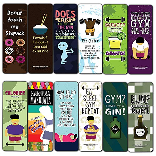 Creanoso Funny Workout Quotes Bookmarks Cards (12-Pack) - Unique Teacher Stocking Stuffers Gifts for Boys, Girls, Kids, Teens, Students - Book Reading Clippers