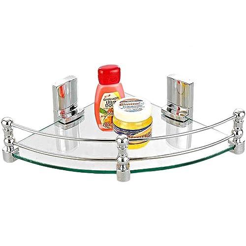 """SBD Glass Corner Shelf (12"""" X 12"""") Inch (with Heavy Wall Brackets)"""