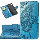 COTDINFOR Etui für Huawei Y5 2019 Hülle PU Leder Cover Schutzhülle Magnet Tasche Flip Handytasche im Bookstyle Kartenfächer Lederhülle für Huawei Honor 8S / Y5 2019 Flower Butterfly Blue SD