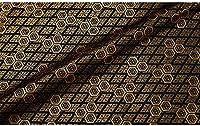 中国の布 カットクロス パッチワーク布 茶コースターの絶妙な絶妙なデザインのための生地の古典的なレトロなタイルパターン75x50cm (Color : Black)