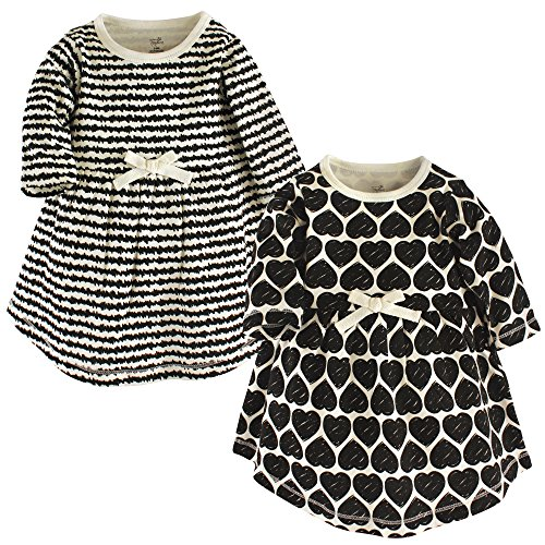 Touched by Nature Girls' Organic Cotton Short-Sleeve Dresses, Heart, 4-Toddler