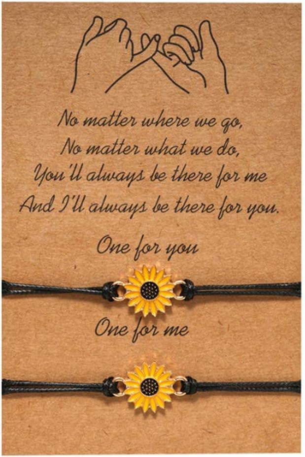 Firecolor Friendship Card Bracelet Promise Distance Matching BFF Couples String Sunflower Adjustable Cord Relationship Bracelet