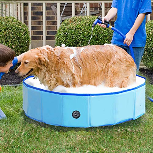 Foldable Dog Swimming Pool Folding Pet Bath Pool Collapsible Cat Bathtub...
