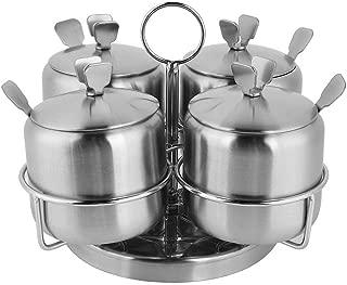 Spice Jars Rotating Seasoning Pot Seasoning Bottle Set for Sugar Salt Oil Vinegar (Four Heads)