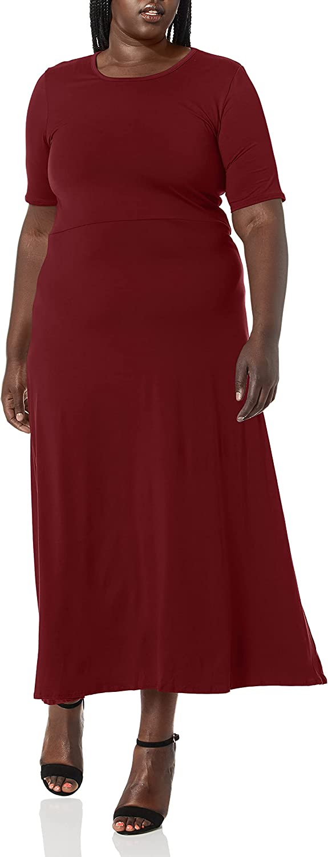 Star Vixen Women's Plus-Size Modest Soft Brushed Knit Elbow Sleeve Maxidress