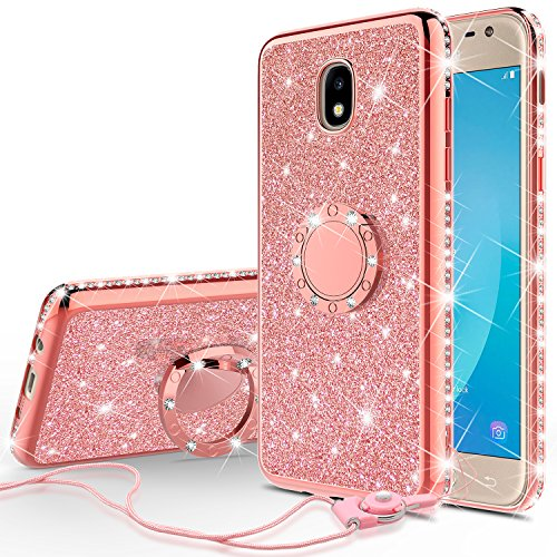 Galaxy J3 Orbit/J3 2018/J3 Star/J3 Achieve/J3v 3rd Gen/Express Prime 3/Amp Prime 3 Case,Ring Kickstand Glitter Cute Bling Girls Diamond Sparkly Compatible for Samsung J3 Orbit Phone Cases, Rose Gold