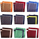 NJZYB 9pcs / set bolsillo cuadrado colorido pañuelo 30 cm floral rayado pañuelo traje (Color : B-Multicolor, Size : 13 * 13 inch)