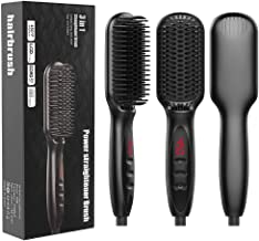Ponjson Ionic Hair Straightener Brush,Beard Straightener Comb with Fast MCH Ceramic Heating, Anti-Scald and Auto Temperature Lock,Best 3 in1 Hair Straightening Comb for Men and Women(Black)