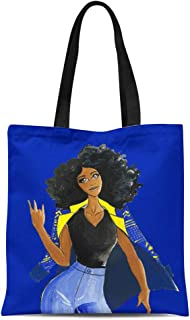 Semtomn Cotton Line Canvas Tote Bag Blue Sgrho Sigma Dawn Gamma Rho Gold Sorority Reusable Handbag Shoulder Grocery Shopping Bags