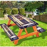 LEWIS FRANKLIN Cortina de ducha de lujo 90s cubierta de mesa de picnic de 1990, escritura de madera con borde elástico, mantel ajustable, 60 x 172 cm, juego de 3 piezas para mesa plegable