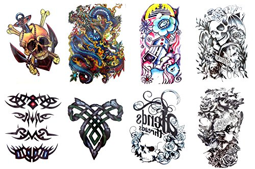 8 sheets large 8.25' temporary arm tattoo wholesale Day of Dead Halloween Sugar Skull crown
