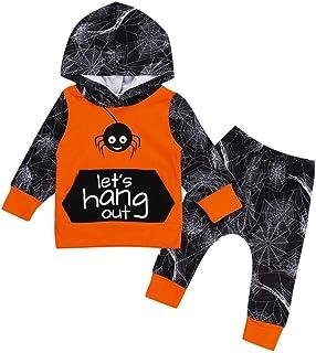 f9e2d902cf349 Kolylong Halloween Déguisement Tee Shirt Tops Sweat à Capuche+ Pantalons  Filet d'araignée imprimée Mignonne