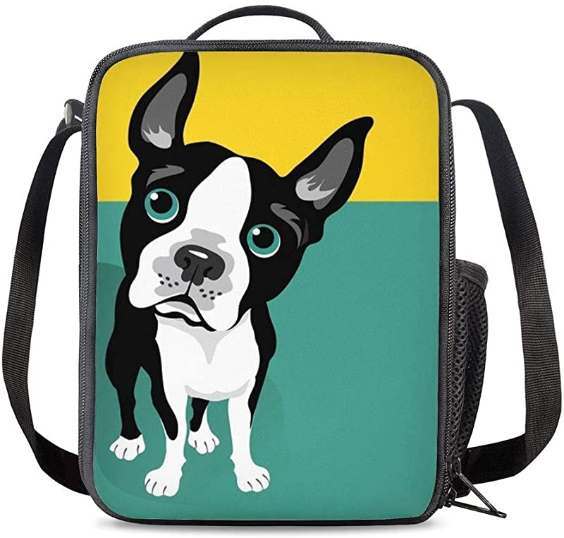 KiuLoam Cute Boston Terrier Dog Kids Small Lunch Box Children S Insulated Lunch Bag With Zipper Shoulder Strap Cooler Lunch Tote For Boys Girl Preschool Office Picnic