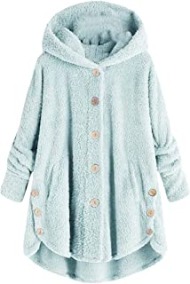 Macondoo Womens Juniors Hooded Coat Plus Size Button Down Fluffy Jackets
