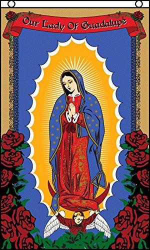 AZ FLAG Drapeau Notre Dame de Guadeloupe Rose 150x90cm - Drapeau Nuestra Señora de Guadalupe 90 x 150 cm - Drapeaux