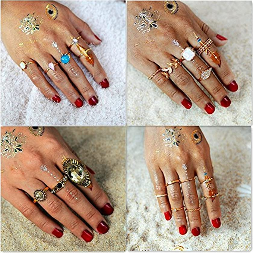 Setita 20 Pieces Turkish Retro Arrow Olive Leaf Turquoise Crystal Joint Knuckle Nail Midi Ring Set Boho Ring Set Stackable
