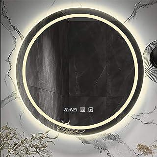 Miroir Salle Bain avec Éclairage Intégré Miroirs de Maquillage Muraux LED Étanches Ronds avec Contrôle Tactile Intelligent...