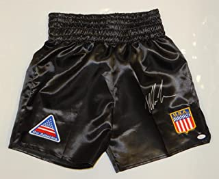 Mike Tyson Autographed Black Boxing Trunks w/Patches- JSA Witnessed Auth Right