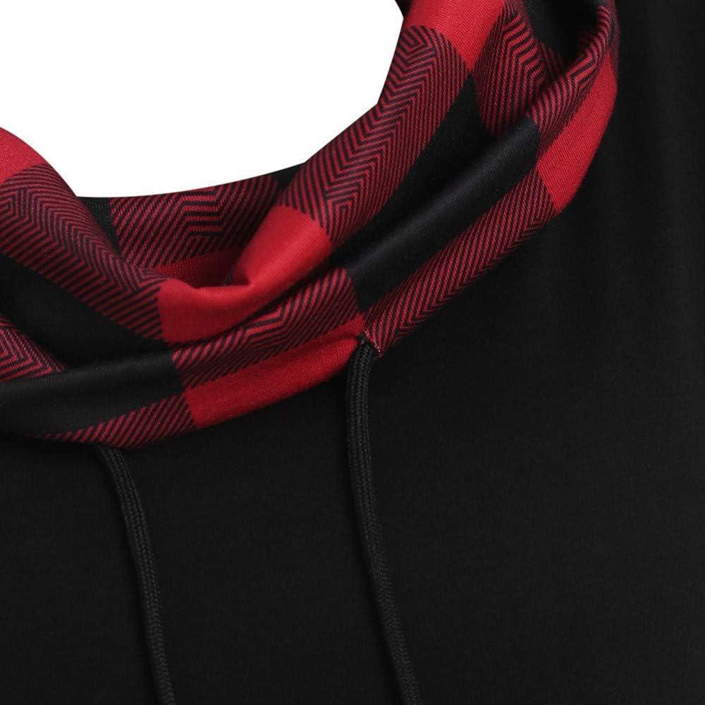 YWLINK Damen Langer Plaid Drucken Wasserfallausschnitt Bluse Frauen Lange ÄRmel Kordelzug Sweatshirt Pulli Pullover Rollkragen Tops Mode Mini Kleiden B Rot