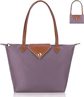 BOJLY Damen Schultertaschen Wasserdichte Umhängetasche Einkaufstasche Stilvolle Diamant Nylon Frauen Faltbare Handtasche F...