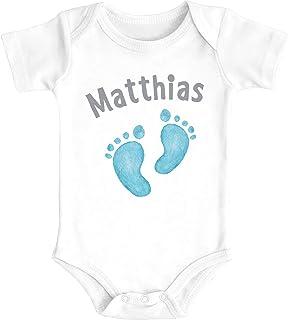 SpecialMe Baby Body mit Namen Bedrucken Lassen Babyfüße Fußabdruck Geschenk zur Geburt Kurzarm Bio Baumwolle