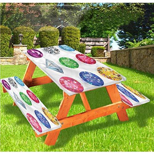 LEWIS FRANKLIN Cortina de ducha con diamantes para mesa de picnic y banco, mantel ajustable con borde elástico de piedra de forma redonda, 28 x 72 pulgadas, juego de 3 piezas para mesa plegabl