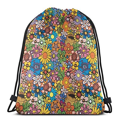 Elsaone Sac de Gym Kawaii Rainbow Flower pour Femmes, Sac à Dos à Cordon avec Poches Sac en Nylon imperméable pour Ficelle Grand Sac à Dos 36 x 43 cm / 14,2 x 16,9 Pouces