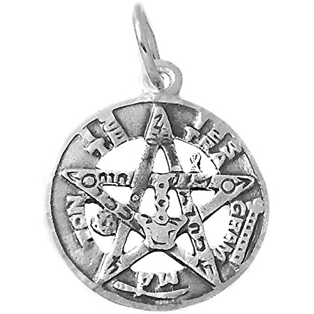 Pendentif tetragramaton 925m de la sterling argent 26mm amulette protection star dos plaine /ésot/érique