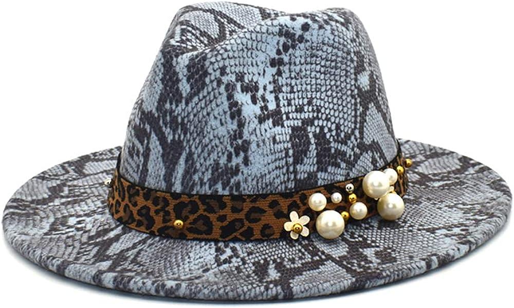 Avilego Women Fashion Fedora Hat Snakeskin Leopard Pattern Pearl Felt Hat