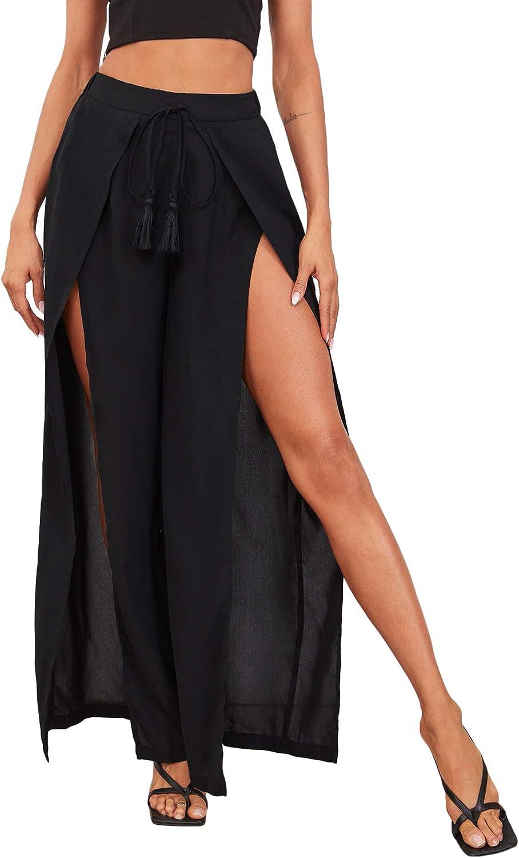 SOLY HUX Women's Elastic High Waisted Tie Front Split Wide Leg Long Pants
