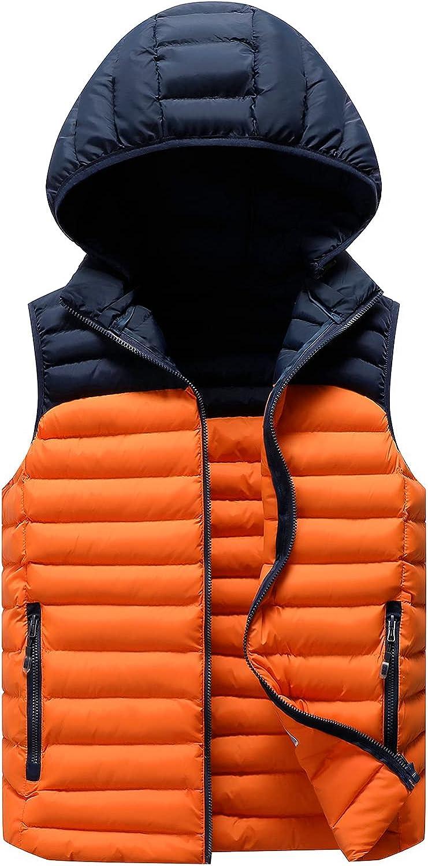 Kissonic Men's Sleeveless Padded Puffer Vest Removable Hooded Gilet Winter Outwear Jacket