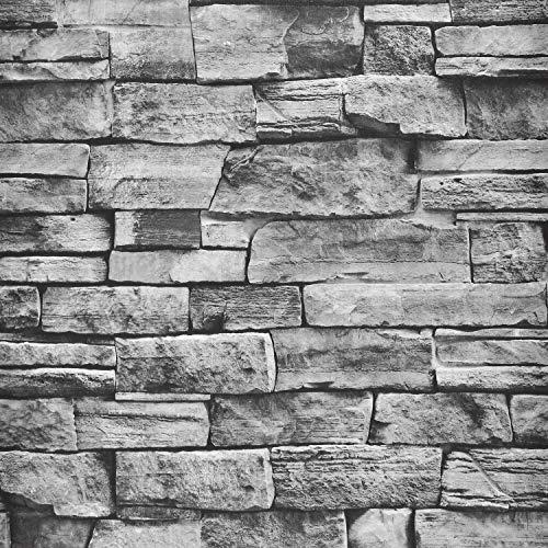 Sunm Boutique Papel pintado autoadhesivo con aspecto de piedra, color gris, resistente al agua, aspecto de piedra, paneles de pared de poliestireno, efecto de piedra, para cocina, dormitorio, armarios
