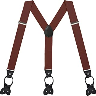 Suspenders for Men Y-Back Button End Adjustable Heavy Duty Design Dress Suspender - 1 1/4 Inch Wide