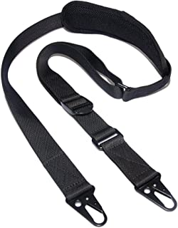 Tactical Single Element Rifle Sling 2 Point Hunting Gun Strap with Shoulder Pad Nylon Webbing HK Hooks Quick Adjustable Length for Outdoor Sport Hunting Shooting