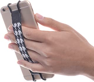 TFY Security Hand-Strap for Smartphones - iPhone 5/5(S) - iPhone 6/6S (Plus) - iPhone 7/7 Plus - iPhone SE - Samsung Galaxy S5 / S6 / S7 / S7 Edge - Galaxy Note 3/4 / 5 Huawei Mate 9 (Black/White)