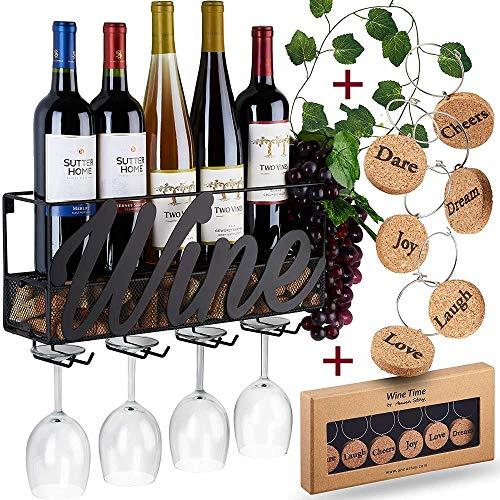 Mazu Homee Pared de pared, botella de vino y copa alta de botellero, almacenamiento de corcho, vino, champán, estante de glamour (para 5 botellas de vino), decoración familiar y de cocina, negro