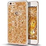 iPhone 6S Plus Case,iPhone 6 Plus Case,NSSTAR Ultra Thin Clear Crystal Bling Shiny Giltter Rhinestone Clear Rubber Frame Transparent TPU Soft Silicone Bumper Case Cover for iPhone 6/6S Plus 5.5,Golden